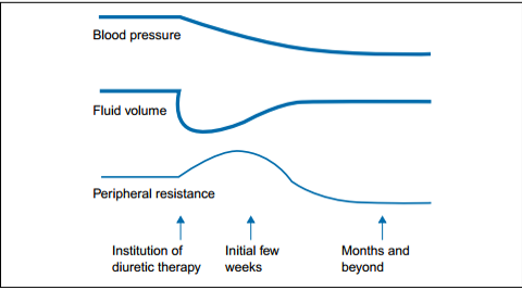 chronic use → the plasma volume returns to nearly pre-treatment level
