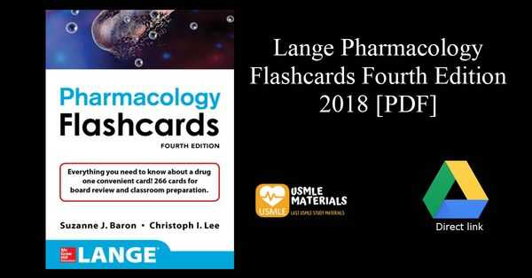 Lange Pharmacology Flashcards Fourth Edition 2018