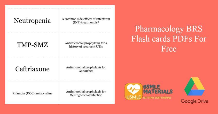 Pharmacology BRS Flash cards PDFs For Free