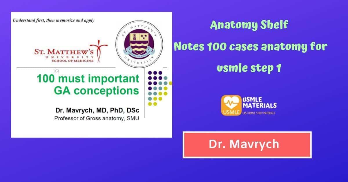 Anatomy Shelf Notes 100 cases anatomy for usmle step 1